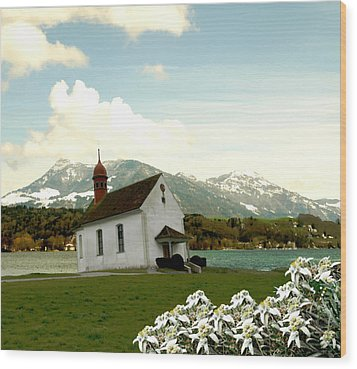 Swiss Spring Version 3 Wood Print by Chuck Shafer
