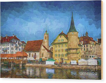 Swiss Town Wood Print by Pravine Chester