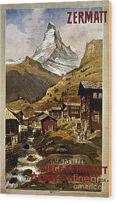 Swiss Travel Poster, 1898 Wood Print by Granger