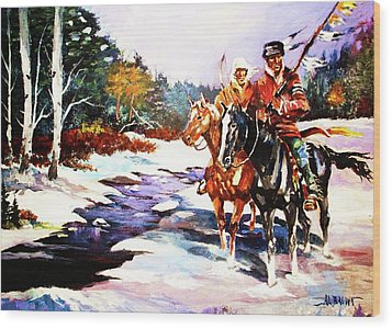 Snowbound Hunters Wood Print