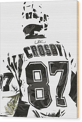 Sydney Crosby Pittsburgh Penguins Pixel Art 2 Wood Print by Joe Hamilton