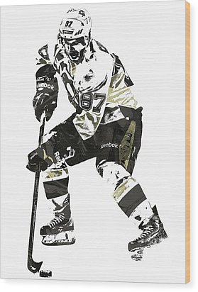 Sydney Crosby Pittsburgh Penguins Pixel Art3 Wood Print by Joe Hamilton