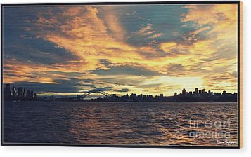 Sydney Harbour At Sunset Wood Print by Leanne Seymour