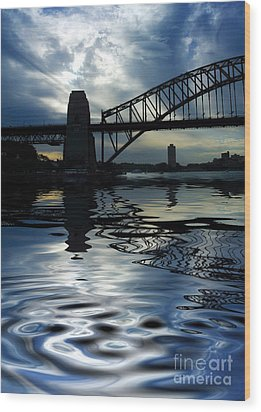 Sydney Harbour Bridge Reflection Wood Print by Avalon Fine Art Photography