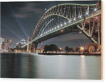 Sydney Harbour Lights Wood Print