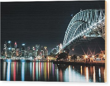 Sydney Harbour Sparkle Wood Print