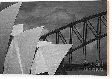 Sydney Opera House With Harbour Bridge Wood Print by Avalon Fine Art Photography