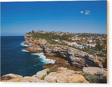 Sydney Sandstone Clifftop Wood Print by John Buxton