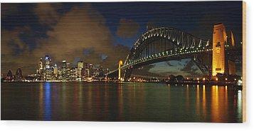 Sydney Skyline Wood Print by Melanie Viola