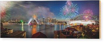 Sydney Sparkles Wood Print by Az Jackson