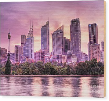 Sydney Tower Skyline At Sunset Wood Print by Chris Smith
