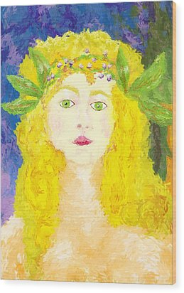 Wood Print featuring the painting Sylph Of Spring by Shelley Bain