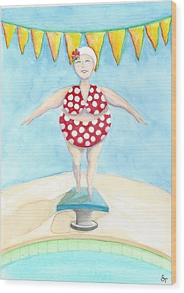 Sylvia At The Pool Wood Print by Stephanie Troxell