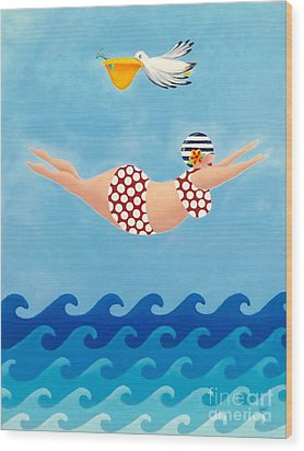 Sylvia Diving II Wood Print by Stephanie Troxell