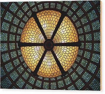 Symmetric Lights Wood Print by Matt Cangelosi