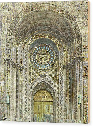 Wood Print featuring the mixed media Synagogue by Tony Rubino
