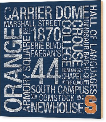 Syracuse College Colors Subway Art Wood Print by Replay Photos