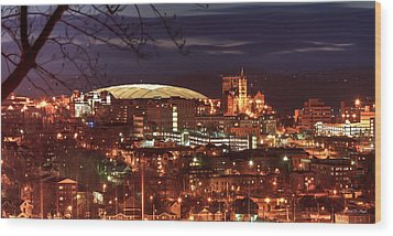 Syracuse Dome At Night Wood Print by Everet Regal