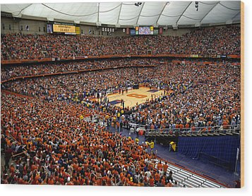 Syracuse Orange Carrier Dome Wood Print by Replay Photos