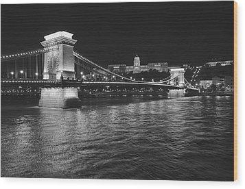 Szechenyi Chain Bridge Budapest Wood Print by Alan Toepfer