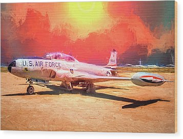Wood Print featuring the photograph T-33 In The Desert by Steve Benefiel