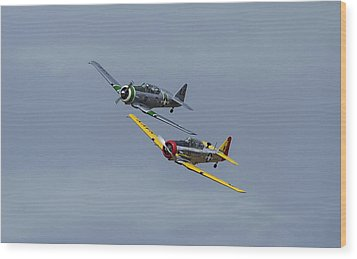 Wood Print featuring the photograph T-6 Trainers by Elvira Butler