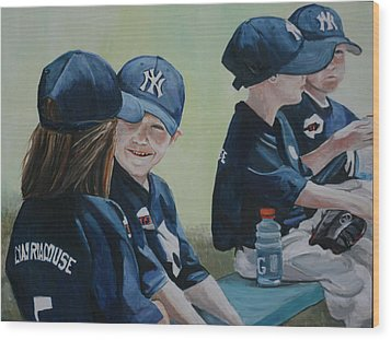 T Ball Friends Wood Print by Charlotte Yealey