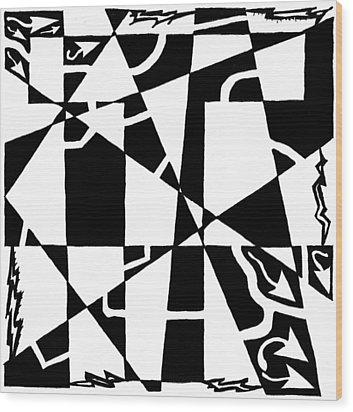 T Maze Wood Print by Yonatan Frimer Maze Artist