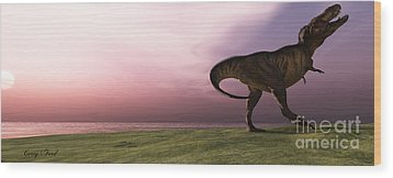 T-rex At Sunrise Wood Print by Corey Ford