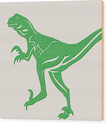 T-rex Wood Print by Linda Woods