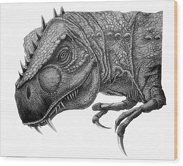 T-rex Wood Print by Murphy Elliott