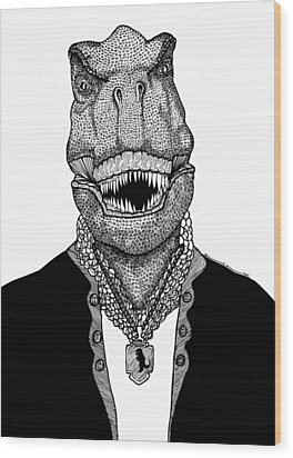 T Rex The Awesome Dinosaur Wood Print by Karl Addison
