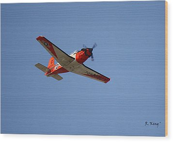 T34 Mentor Trainer Flying Wood Print