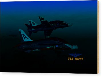Wood Print featuring the digital art T45 Kiss-off Wt Wings by Mike Ray