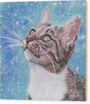 Wood Print featuring the painting Tabby Cat In The Winter by Lee Ann Shepard