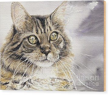 Tabby Cat Jellybean Wood Print by Keran Sunaski Gilmore