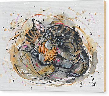 Wood Print featuring the painting Tabby Kitten Playing With Yarn Clew  by Zaira Dzhaubaeva