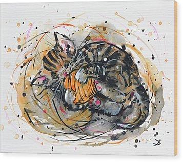 Tabby Kitten Playing With Yarn Clew  Wood Print by Zaira Dzhaubaeva