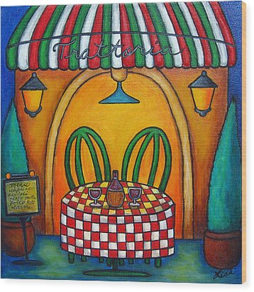 Table For Two At The Trattoria Wood Print by Lisa  Lorenz