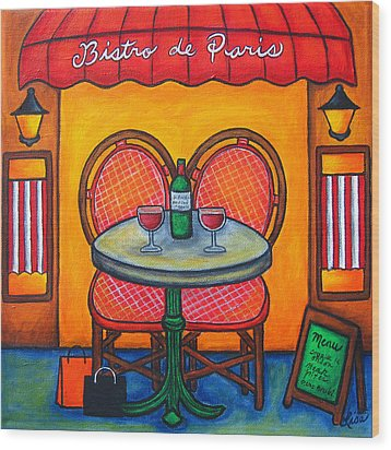 Table For Two In Paris Wood Print by Lisa  Lorenz
