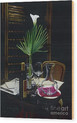 Table For Two A Night's Promise Wood Print by Kelly Borsheim