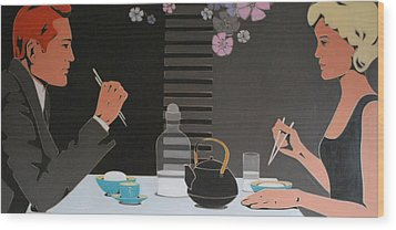 Table For Two Wood Print by Varvara Stylidou