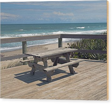 Table For You In Melbourne Beach Florida Wood Print by Allan  Hughes