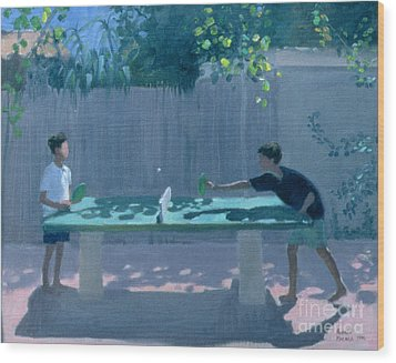 Table Tennis Wood Print by Andrew Macara