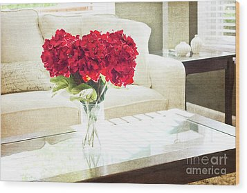 Table With Red Flowers Wood Print