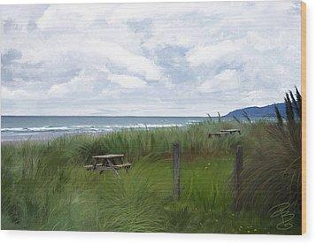 Tables By The Ocean Wood Print by Debra Baldwin