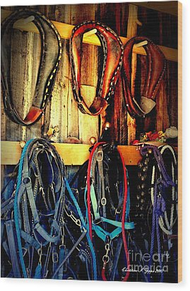 Tack Room Wood Print by Christine Zipps