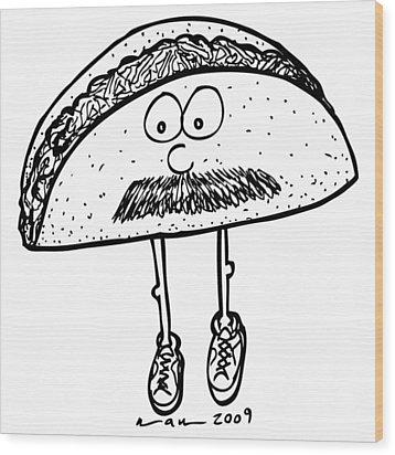 Taco Mustache Wood Print by Karl Addison