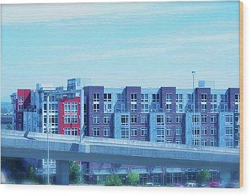 Wood Print featuring the photograph Tacoma Blues - Cityscape Art Print by Jane Eleanor Nicholas
