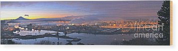 Tacoma Dawn Panorama Wood Print